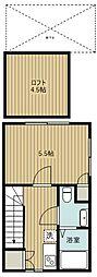 西武池袋線 保谷駅 徒歩8分の賃貸アパート 2階1Kの間取り