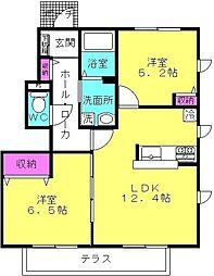 パルテール加古川 B棟[1階]の間取り