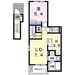 愛知県豊橋市大岩町字曲松の賃貸アパートの間取り