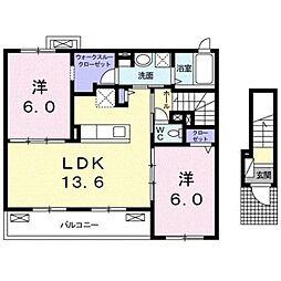 静岡県静岡市駿河区大谷3丁目の賃貸アパートの間取り