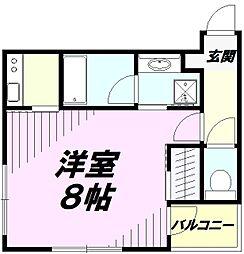 JR中央線 立川駅 徒歩9分の賃貸マンション 4階1Kの間取り