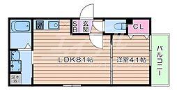 おおさか東線 南吹田駅 徒歩7分の賃貸アパート 3階1LDKの間取り