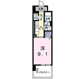 JR南武線 矢川駅 徒歩13分の賃貸マンション 4階1Kの間取り