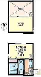 JR横浜線 菊名駅 徒歩3分の賃貸アパート 1階1Kの間取り