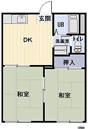 愛知県豊田市聖心町2丁目の賃貸アパートの間取り