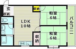 シャトル岡崎 1階2LDKの間取り