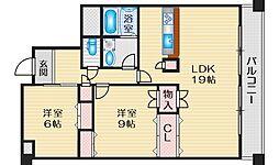 プレミール桃山台 1階2LDKの間取り