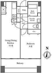 リバーシティ21イーストタワーズ2 16階1LDKの間取り