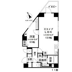 アイディ西五反田(アイディニシゴタンダ) 11階1LDKの間取り