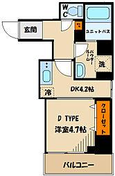 東急田園都市線 溝の口駅 徒歩5分の賃貸マンション 4階1DKの間取り
