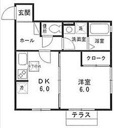 神奈川県川崎市高津区諏訪3丁目の賃貸アパートの間取り