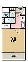 西武新宿線 小平駅 徒歩17分の賃貸マンション 1階1Kの間取り