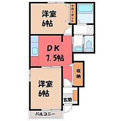 栃木県宇都宮市免ノ内町の賃貸アパートの間取り