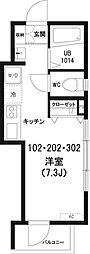 東京都新宿区早稲田鶴巻町の賃貸アパートの間取り