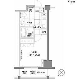 パークハビオ渋谷 10階1Kの間取り
