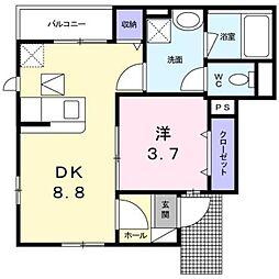 神奈川県川崎市多摩区栗谷1丁目の賃貸アパートの間取り