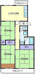 新檜尾台第一住宅[5階]の間取り