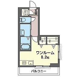 仮)木更津駅前マンション 3階ワンルームの間取り
