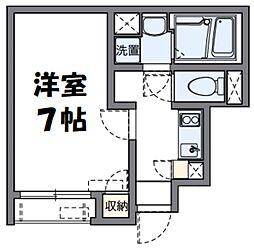 京王線 平山城址公園駅 徒歩20分の賃貸アパート 1階1Kの間取り