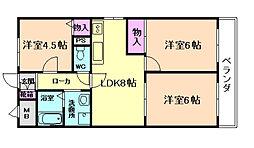 大阪府豊中市夕日丘1丁目の賃貸マンションの間取り