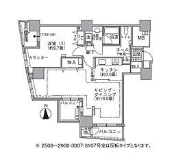 JR山手線 浜松町駅 徒歩3分の賃貸マンション 27階1LDKの間取り