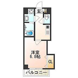 Luxe西田辺 6階1Kの間取り