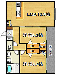 Osaka Metro今里筋線 瑞光四丁目駅 徒歩8分の賃貸マンション 2階2LDKの間取り