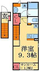 京成本線 勝田台駅 徒歩7分の賃貸アパート 2階1Kの間取り