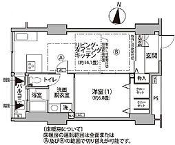 東雲キャナルコートCODAN12号棟 9階1LDKの間取り