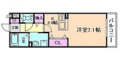 JR大阪環状線 桜ノ宮駅 徒歩7分の賃貸アパート 2階ワンルームの間取り
