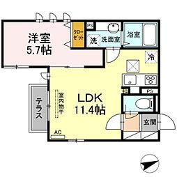 仮)D-room 下作延 1階1LDKの間取り