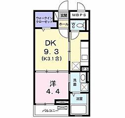 ル シエル I 2階1DKの間取り