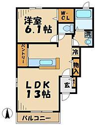 京王相模原線 京王多摩センター駅 バス8分 浅間下下車 徒歩1分の賃貸アパート 1階1LDKの間取り