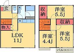 [テラスハウス] 千葉県千葉市緑区おゆみ野南2丁目 の賃貸【/】の間取り