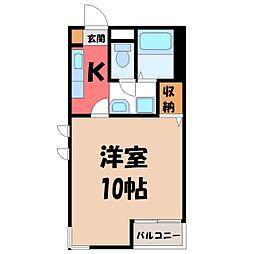 栃木県宇都宮市桜2の賃貸マンションの間取り