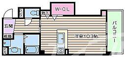 Osaka Metro御堂筋線 なんば駅 徒歩20分の賃貸マンション 6階1Kの間取り