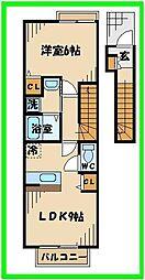 JR南武線 矢川駅 徒歩2分の賃貸アパート 2階1LDKの間取り