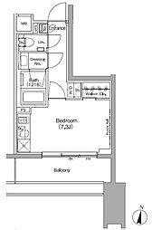 ザ・パークハビオ代々木初台 2階ワンルームの間取り