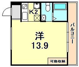 JR東海道・山陽本線 三ノ宮駅 徒歩13分の賃貸マンション 4階ワンルームの間取り