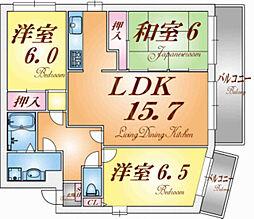 兵庫県神戸市垂水区塩屋町9丁目の賃貸マンションの間取り