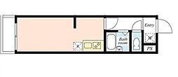 恵比寿パークサイドヒルズ 4階ワンルームの間取り
