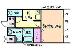 COM服部[2階]の間取り