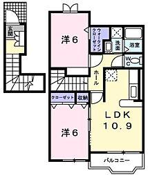 新潟県新潟市南区高井興野の賃貸アパートの間取り