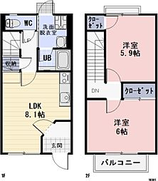 愛知県豊橋市吉川町の賃貸アパートの間取り
