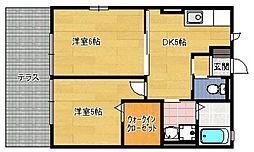 サンハイツ有田B棟[202号室]の間取り