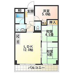 ライオンズマンション泉南樽井第2 6階3LDKの間取り