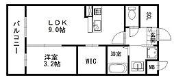 福岡市地下鉄空港線 福岡空港駅 徒歩8分の賃貸マンション 1階1LDKの間取り