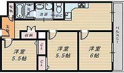 大阪府堺市堺区大浜北町3丁の賃貸マンションの間取り