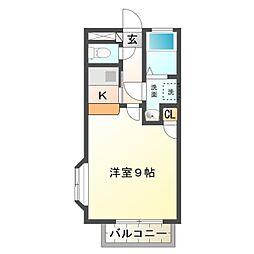 愛知県豊橋市向草間町字北新切の賃貸アパートの間取り
