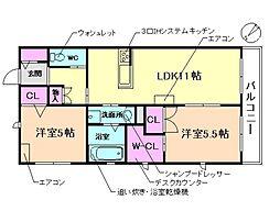 (仮称)豊中市上新田ヘーベルメゾン 2階2LDKの間取り